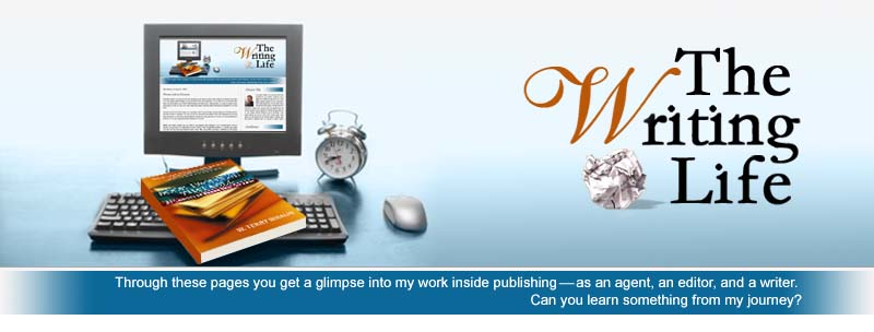 A desk top computer with The Writing Life Website Pulled Up